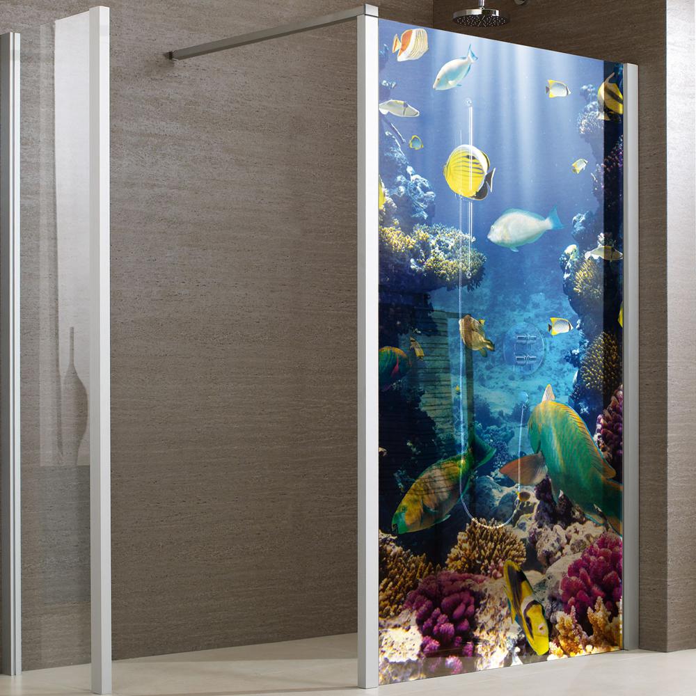 autocolantes decorativos autocolante cabine de duche peixes. Black Bedroom Furniture Sets. Home Design Ideas