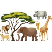 Kit Autocolante decorativo infantil 6 Animais